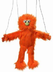 orange silly monster marionette tall head